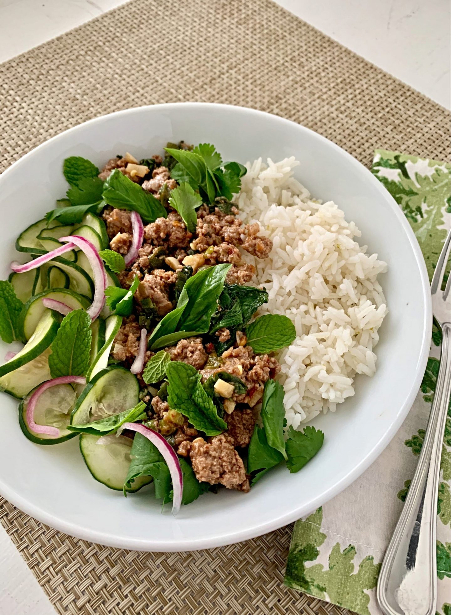 healthy, easy chicken turkey pork larb recipe